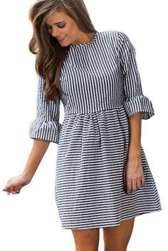 Black White Stripe Flounce Sleeve O-Neck Seersucker Dress