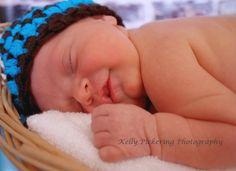 Baby Boy Hat Photo Prop  Newborn Brown and Blue by pixieharmony, $15.95