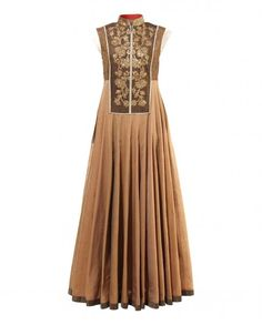 Brown Anarkali Suit with Zari Work