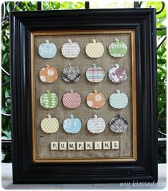 Great project using a frame, Scrabble tiles, and scrapbook paper. Could also use trees for Christmas?