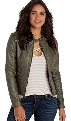 Maurices Women's Faux Leather Zip Up Scuba Jacket With Kn…