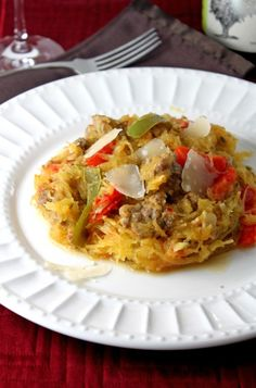 Spicy Italian Sausage, Peppers, and Spaghetti Squash