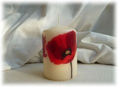 Candle hand decorated with Poppies £5.95