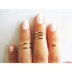 Thin gold ring - Stacking rings, Knuckle Ring, Gold shiny bands, Set... ($19) ❤ liked on Polyvore featuring jewelry, rings, nails, accessories, beauty, band rings, mid knuckle rings, knuckle ring, yellow gold rings and gold stacking rings