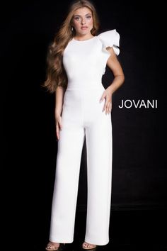 05d3cb3ec2 Style 57239 from Jovani is a sleeveless high neck jumpsuit with one ruffle  shoulder. Hoco