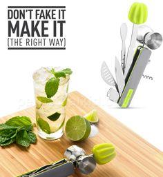 BAR10DER Bartending Tool.  Muddler, Reamer, Channel Knife, Jigger, Zester,  Knife, Stirrer, Strainer, Corkscrew