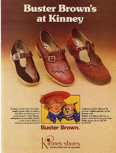 Buster Brown shoes for school! We went to Baynham's in E'ville ( they had a huge glass cage with monkey's inside)