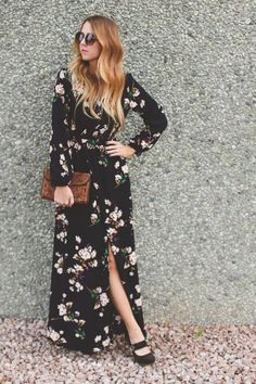 floral print maxi dress with front slit, embossed leather clutch: