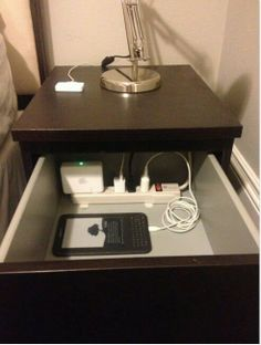Hide all your cords and power strip in a drawer