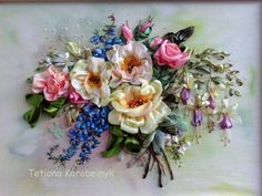 picture Rose and fuchsia made of Silk by SilkRibbonembroidery, €70.00