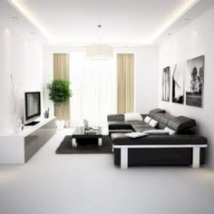Black And White Living Room Decor With Minimalist Design 31
