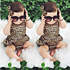 Newborn Baby Girl Boy Clothes Leapord Bodysuit Dress Ruffles Jumpsuit Outfits One pieces Summer Clothing 0-24M! Baby Clothes Sale!