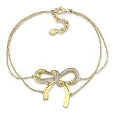 Miadora 14k Yellow Gold /5ct TDW Diamond 2-strand Bow Bracelet