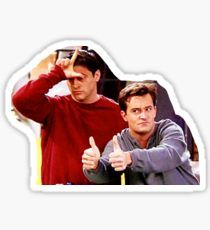 """Chandler Bing Joey Tribbiani Friends"" Stickers by mariahkasp Meme Stickers, Tumblr Stickers, Cool Stickers, Macbook Stickers, Phone Stickers, Red Bubble Stickers, Wallpaper Stickers, Aesthetic Stickers, Friends Show"