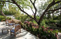 The patio outside Elizabeth Taylor's Bel Air home is seen in this photo provided by David Mossler of Teles Properties, Beverly Hills.   The actress bought the some 7,000-square foot, ranch-style house in 1981 and lived there until her death in March 2011 at age 79. The house was put on sale for $8.6 million, it was announced in May 2011. The property contains five bedrooms - including a master bedroom whose walls are painted violet to match Taylor's signature color