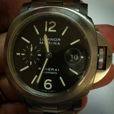 """Panerai titanium automatic on stainless steel and titanium bracelet for sale"" Photo taken by @superwatchesmiami on Instagram, pinned via the InstaPin iOS App! http://www.instapinapp.com (04/25/2015)"