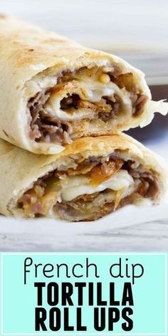 lunch recipes Fast and easy - these French Dip Tortilla Roll Ups have all the flavors of a French Dip Sandwich, but rolled up into a tortilla instead! These are perfect for those weeknight dinners when you need to get something tasty on the table quickly. Beef Recipes, Mexican Food Recipes, Cooking Recipes, Roll Ups Recipes, Recipies, Healthy Recipes, Tortilla Recipes, Cooking Bacon, Easy Food Recipes