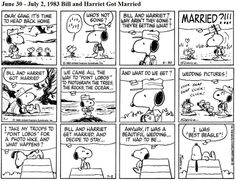 June 1983 - Bill and Harriet get married Snoopy Cartoon, Snoopy Comics, Peanuts Cartoon, Peanuts Snoopy, Peanuts Comics, Snoopy Beagle, Black And White Comics, Love Is Comic, 30 July