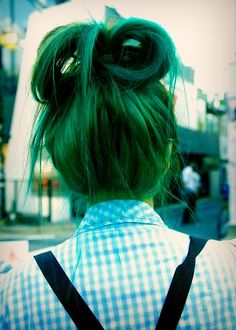 Green hair. Would do if I could just dye over it easily without it having to be a dark color.