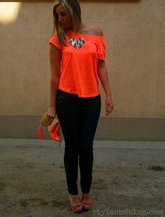 Neon orange top & clutch! <3