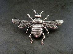 Handmade Oxidized Silver Bee Brooch