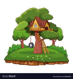 Tree house in park vector image on VectorStock Easy Cartoon Drawings, Art Drawings For Kids, Drawing For Kids, Simple Cartoon, Cartoon Kids, Hut Images, Farm Coloring Pages, Board For Kids, Parking Design