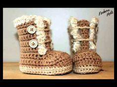 Crochet Baby Booties Pattern Boys or Girls Fur Trim Booties/ Crochet Boots, Crochet Baby Booties, Crochet Slippers, Love Crochet, Crochet For Kids, Knit Crochet, Ravelry Crochet, Crochet Crafts, Crochet Projects