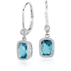 Blue Nile Blue Topaz and White Sapphire Milgrain Dangle Earrings ($144) ❤ liked on Polyvore featuring jewelry, earrings, blue topaz earrings, earring jewelry, blue topaz dangle earrings, long earrings and dangle earrings