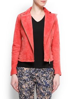 Peachy suede biker jacket.  Perfect pairing with any outfit this spring to ward off a chill. #getyourstyleback