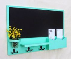 Best DIY Projects: Chalkboard mail station and key holder all in one. We need to do this!