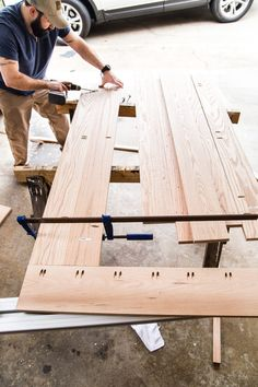 DIY Retrofitted Dining Table Top - Bless'er House - A tutorial for how to build a retrofitted table top to fit over any existing table using Minwax Dar - Build A Farmhouse Table, Build A Table, Farmhouse Kitchen Tables, Make A Table, Table Top Covers, Diy Table Top, Diy Dining Room Table, Dining Tables, Outdoor Table Tops