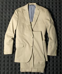 Brooks Brothers khaki cotton suit.