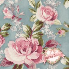 """Damask Rose 13994-192 Spring By Robert Kaufman: Damask Rose is a collection by Robert Kaufman Fabrics.  100% cotton.  43/44"""" wide.  This fabric features large pink rose bouquets tossed a blue background."""