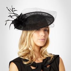 782f72db J by Jasper Conran Black Net Saucer Hat With Feathers- at Debenhams.Mounted  onto