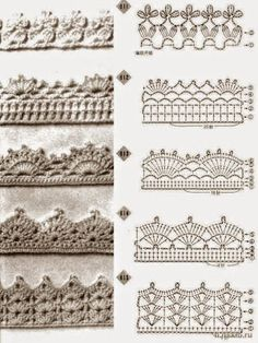 alice brans posted Crochet edging diagrams for a afghan, baby blanket, scarf, dish towel, pillowcase. to their -crochet ideas and tips- postboard via the Juxtapost bookmarklet.Trendy crochet flower edging patterns crochet edges pattern – an entire Crochet Edging Patterns Free, Crochet Boarders, Crochet Lace Edging, Crochet Diagram, Crochet Chart, Diy Crochet, Crochet Designs, Stitch Patterns, Crochet Flower