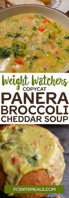 Skinny Comfort Food Recipes without worrying about the calorie counts Copycat Panera®️️️️ Broccoli Cheddar Soup Salade Weight Watchers, Plats Weight Watchers, Weight Watcher Dinners, Weight Watchers Chili, Weight Watcher Crockpot Recipes, Weight Watcher Vegetable Recipes, Weight Watchers Appetizers, Weight Watchers Pasta, Weight Watchers Vegetarian