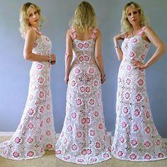 Vintage 70 laço pura trem Scalloped tambor casamento vestido Maxi vestido de crochê