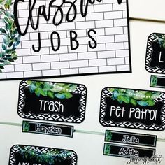 Farmhouse Flair Magnolia TILE Classroom Jobs: This classroom job display is perfect for managing student jobs! It comes with an editable PowerPoint file to create additional jobs and edit student names.Check out my ENTIRE Farmhouse Flair Magnolia TILE Classroom Decor collection!! #HollieGriffithTeaching