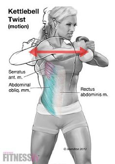 Kettlebell Twists - Pull outward on handles like you are trying to pull them apart. Twist as far as you can to each side without rotating the hips