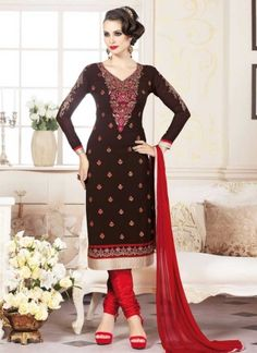 Dazzling Black And Red Georgette Embroidery Work  Churidar Suit http://www.angelnx.com/Salwar-Kameez/Churidar-Suits