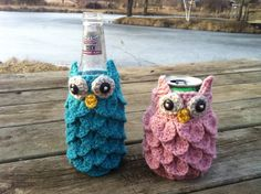 Crochet Owl Can and Bottle Cozies Pattern por PenelopeRaeCrochet