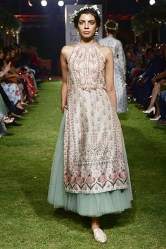 Shop Anita Dongre - Pink chanderi silk long jacket with tulle skirt Latest Collection Available at Aza Fashions Lakme Fashion Week, India Fashion, Women's Fashion, Indian Attire, Indian Ethnic Wear, Ethnic Outfits, Indian Outfits, Diwali Outfits, Indian Designer Outfits