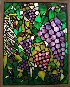 Stained Glass Mosaic on Glass  The Vineyard by Jane Campbell