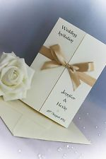 30 Wedding Invites Gatefold, Diamante/Pearl, Personalised Ribbon, Handmade