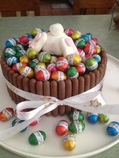 Chocolate Easter cake with Easter bunny