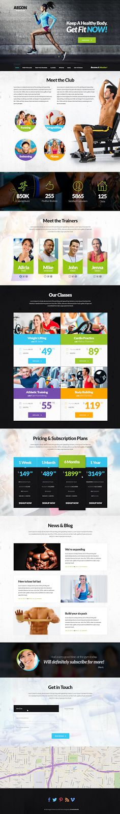Buy Aegon Fitness Club - One Page Fitness PSD Theme by creativemonkie on ThemeForest. Aegon is a brand new, modern looking one-page theme for your fitness club. Web Design, Layout Design, Ios 7 Icons, Site Bio, Website Layout, Layout Site, Page Layout, Web Layout, Layouts