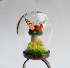 Moss Butterfly Mushroom Mini Terrarium Glass Globe Ring via Etsy