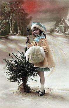Vintage Postcard ~ Little Girl w/Muff Images Vintage, Photo Vintage, Vintage Pictures, Vintage Cards, Vintage Postcards, Vintage Christmas Photos, Vintage Holiday, Christmas Pictures, Vintage Winter