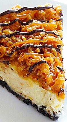 Samoa Cheesecake (think Girl Scout cookies! Pie Dessert, Eat Dessert First, Dessert Recipes, Samoa Cheesecake, Cheesecake Recipes, Classic Cheesecake, Homemade Cheesecake, Cupcake Cakes, Cupcakes