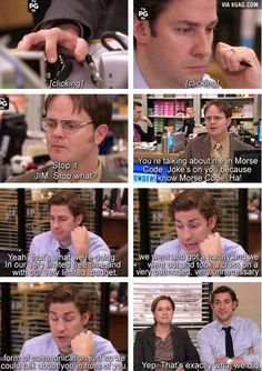 Jim and Dwight's incessant bickering is what has always made The Office so funny to me.Jim and Dwight's incessant bickering is what has always made The Office so funny to me. Tv Quotes, Funny Quotes, Funny Memes, Funny Pranks, Family Quotes, Movie Quotes, Funny Office Memes, Kids Pranks, Pranks Ideas